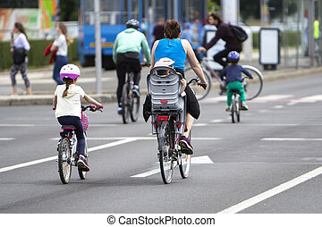 Group of cyclist at bike race on the streets of the city