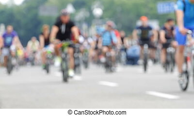 Group of cyclist at bike race on blurred