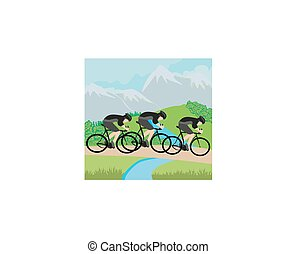 Group of Cyclists in the mountains