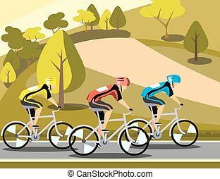 Group of cyclists man in road sport