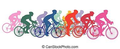 Group of cyclists on racing bikes, cycling racing