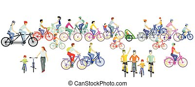 Group of cyclists riding a bike, illustration.eps