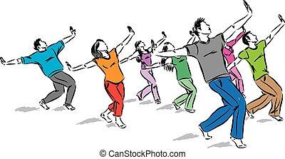 group of dancers together vector illustration