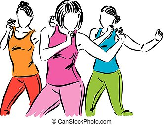 group of dancers women vector illustration