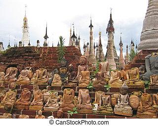 Group of decapitated sitted buddhas, Kakku, Myanmar - Group...