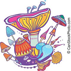 Group of decorative mushroom - Group vector of decorative...