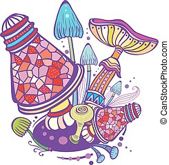 Group of decorative mushrooms in doodle style