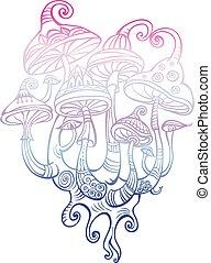 Group of decorative mushrooms. Element for design