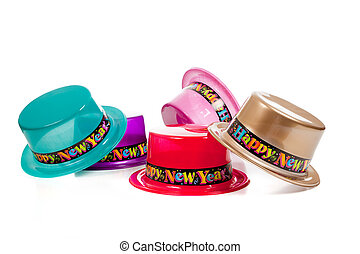 Group of decorative New Years Eve Hats