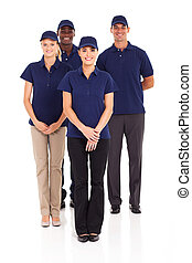 delivery service staff full length - group of delivery...