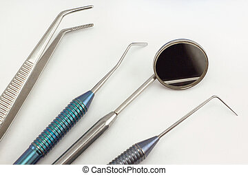 Group of dental tools for the diagnostics of dental diseases.
