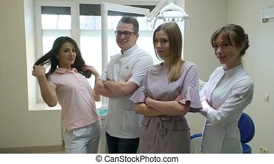Group of dentists in clinic