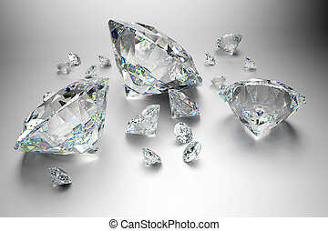 Group of diamonds on grey background - High quality 3d...