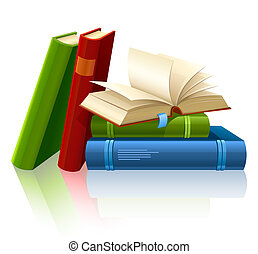 group of different books with blank pages illustration, isolated on white background