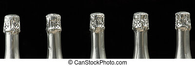Group of different champagne bottles