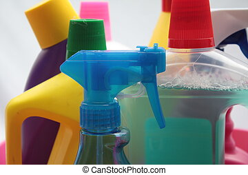Group of different detergent bottles