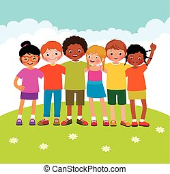 Group of different ethnic children