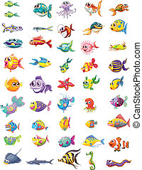 Group of different fishes - Illustration of a group of...