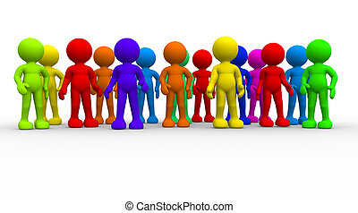 Group of different people. This is a 3d render illustration