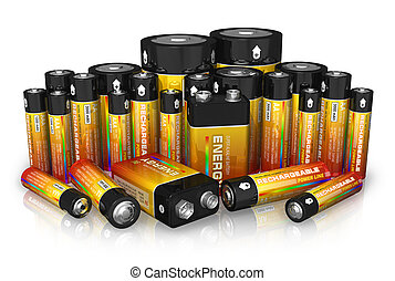 Group of different size batteries isolated on white ...