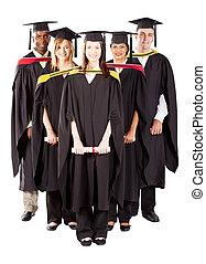 group of diverse graduates full length portrait on white