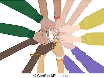 Group of Diverse Hands Together isolated. Team  friends unity.