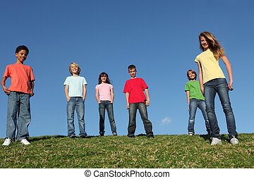 group of diverse kids