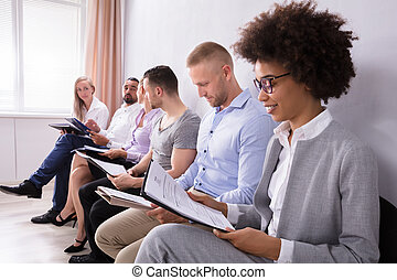 Group Of Diverse People Waiting For Job Interview