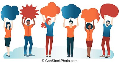Group of diverse people with speech bubble. Communication and sharing. Crowd talking. Social network. Share ideas. Multi-ethnic people who talk and socialize and communicate. Solidarity