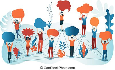 Group of diverse people with speech bubble. Crowd talking. Communication and sharing. Social network. Share ideas. Multi-ethnic people who talk and socialize and communicate. Solidarity