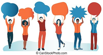Group of diverse people with speech bubble. Social network. Communication and sharing. Crowd talking. Share ideas. Multi-ethnic people who talk and socialize and communicate. Solidarity