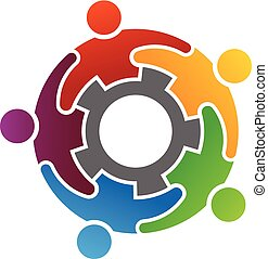 Group of Diverse People Working Together Logo Concept