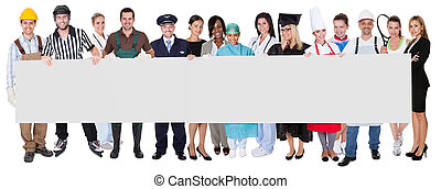 Group of diverse professionals presenting empty banner. ...