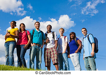 Group of diverse students/friends outside