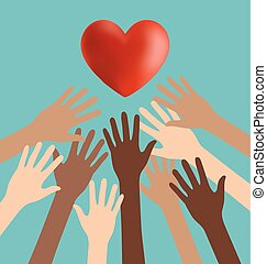 Group of Diversity Hand Reaching For The Red Heart