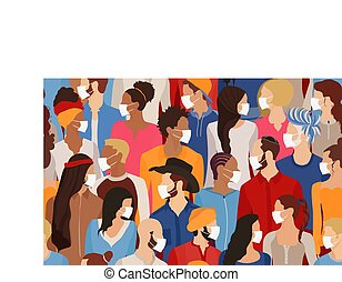 Group of diversity people wearing medical masks. Crowd of diverse people protecting themselves against pandemic epidemic infection. Coronavirus quarantine. Covid-19. Seamless pattern