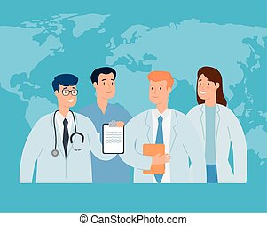 group of doctor with world map