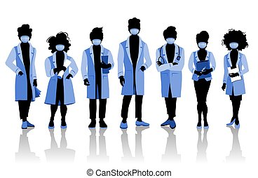 Group of doctors and medical staff people in surgical masks, various poses. Hospital medical team concept.