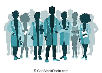 Group of doctors and medical staff people silhouettes in various poses. Hospital medical team concept.