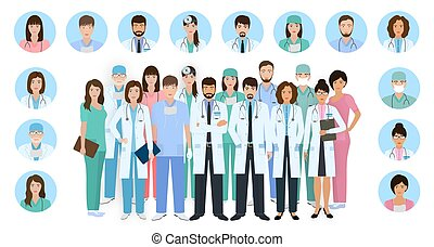 Group of doctors and nurses characters in different poses with vector profile avatars. Medical people. Hospital staff.