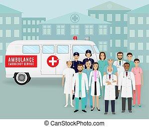 Group of doctors and nurses on retro ambulance car background. Emergency medical service employee.