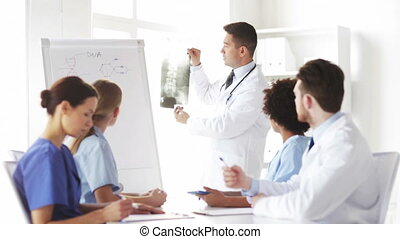 group of doctors looking at x-ray in hospital - hospital,...