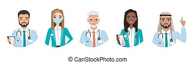 Group of doctors, nurses and medical staff people. Different nationalities. Hospital medical team concept. People character set