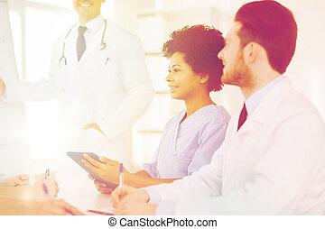 group of doctors on presentation at hospital