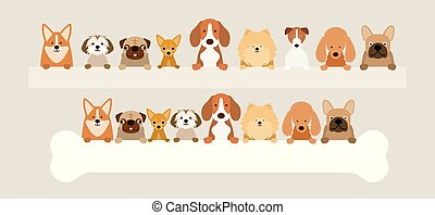 Group of Dog Breeds Holding Bone and Banner