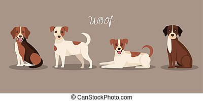group of dogs animals icons