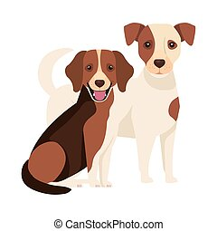 group of dogs brown and white