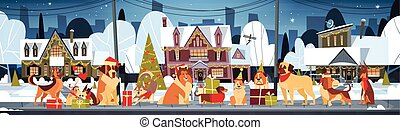 Group Of Dogs In Santa Hats Outdoors Near Decorated Houses Marry Christmas And Happy New Year Horizontal Poster