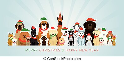 Group of Dogs Wearing Christmas Costume