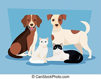 group of dogs with cats icons